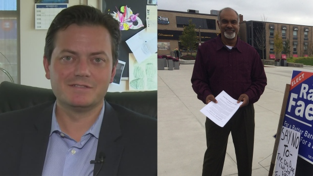 Jeff Lehman (left) and Ram Faerber (right) make the final push for the top job in Barrie (CTV News)