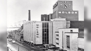 Nestled along the banks of the St. Lawrence River, the landmark Molson Coors building on the Island of Montreal has gone up for sale, with production moving to Longueuil. (CTV)