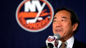 In this June 8, 2006, file photo, New York Islanders owner Charles Wang addresses members of the media during a news conference, in Uniondale, N.Y. Wang, a technology company founder who formerly owned the New York Islanders hockey team has died. (AP Photo/Mary Altaffer, File)