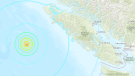 A map showing the epicentre of the three quakes off the coast of Vancouver Island. (United States Geological Survey)