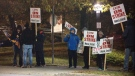 Unionized Canada Post workers hit the picket line in Halifax on Oct. 22, 2018.