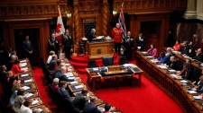 Lt.-Gov. Judith Guichon delivers the speech from the throne from the Legislative Assembly at Legislature in Victoria, B.C., on Tuesday, February 13, 2018. (THE CANADIAN PRESS / Chad Hipolito)