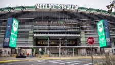 The MetLife Stadium facade is pictured on Saturday, Oct. 13, 2018, in East Rutherford, N.J. (Photo by Joe Russo/Invision/AP)