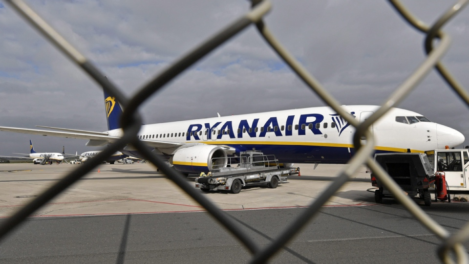 A Ryanair jet at the airport in Weeze, Germany, on Sept. 12, 2018. (Martin Meissner / AP)