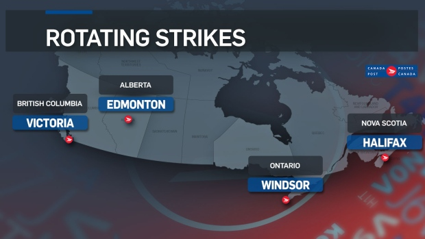 Canada Post rotating strike locations