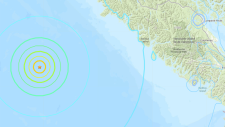 Three earthquakes hit Sunday night off the coast of Vancouver Island at a depth of about 10 kilometres. (U.S. Geological Survey)