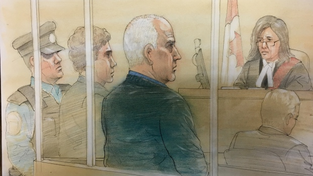 Bruce McArthur appears in court, in person, on October 22, 2018. (Sketch by John Mantha)