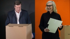 Toronto Mayor John Tory and mayoral candidate Jennifer Keesmaat cast their ballots separately on Oct. 22, 2018. (THE CANADIAN PRESS/Chris Young/Christopher Katsarov)