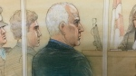 Bruce McArthur appears in court, in person, on Oct. 22, 2018. (Sketch by John Mantha)