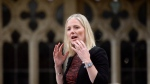 Environment Minister Catherine McKenna rises during question period in the House of Commons on Parliament Hill in Ottawa on Friday, Oct. 19, 2018. THE CANADIAN PRESS/Adrian Wyld