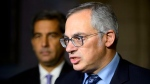 Conservative Shadow Minister for Justice Tony Clement and Shadow Minister for Public Safety and Emergency Preparedness Pierre Paul-Hus hold a press conference on Parliament Hill in Ottawa on Monday, Oct. 22, 2018. THE CANADIAN PRESS/Sean Kilpatrick