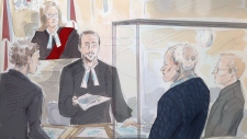 Defence lawyer James Miglin, left to right, Justice Rebecca Rutherford, a court clerk, defendant Bruce McArthur and Crown attorney Michael Cantlon are shown during a preliminary court hearing in Toronto on Monday, Oct. 22, 2018. (THE CANADIAN PRESS/Alexandra Newbould)