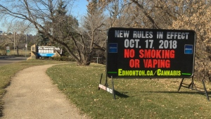 The City of Edmonton is putting up signs that inform smokers of the new laws regarding tobacco, marijuana and e-cigarettes.