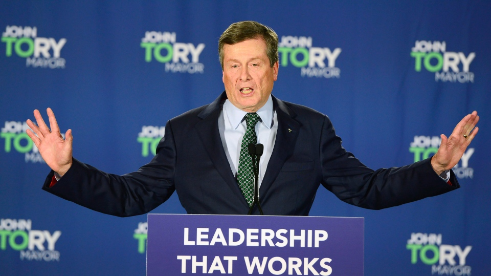 Toronto Mayor John Tory speaks to supporters after being re-elected in the Ontario municipal election in Toronto, on Monday, October 22, 2018. THE CANADIAN PRESS/Frank Gunn
