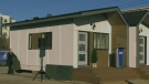 The exterior of a tiny home for homeless veterans, made by Alberta-based construction company ATCO. (CTV)