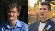 Nineteen-year-old Ned Taylor, left, and 23-year-old Zac De Vries, were both elected to Saanich city council Saturday. Oct. 22,  2018. (CTV Vancouver Island)