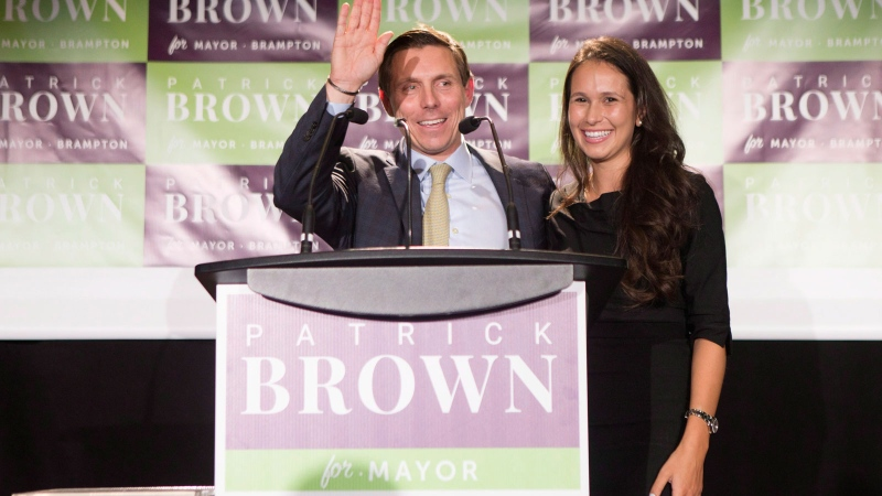 Brampton Mayor Patrick Brown stands on stage with his wife Genevieve Gualtieri after winning the Brampton Mayoral Election during a campaign celebration in Brampton, Ont. on Monday, October 22, 2018. THE CANADIAN PRESS/Chris Young