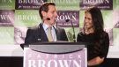 Brampton Mayor Patrick Brown stands on stage with his wife Genevieve Gualtieri after winning the Brampton Mayoral Election during a campaign celebration in Brampton, Ont. on Monday, October 22, 2018. (THE CANADIAN PRESS/Chris Young)