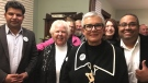 Mayor-elect Hilda MacDonald celebrating with supporters after her big election win in Leamington, Ont., on Monday, Oct. 22, 2018. (Ricardo Veneza / CTV Windsor)