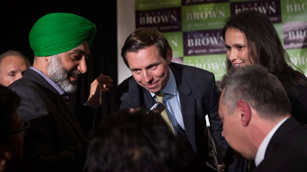 Brampton Mayor Patrick Brown greets supporters after winning the Brampton Mayoral Election during a campaign celebration in Brampton, Ont. on Monday, October 22, 2018. (THE CANADIAN PRESS/Chris Young)