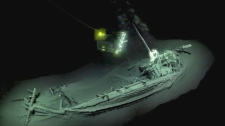 The shipwreck, believed to be ancient Greek, was discovered with its mast, rudders and rowing benches present. (© Black Sea map)