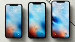 This Monday, Oct. 22, 2018, photo shows from left, the iPhone XS, iPhone XR, and the iPhone XS Max in New York. The XR falls between the top-of-the-line XS models in size, but is lower in price. (AP Photo/Richard Drew)