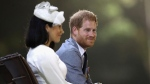 Prince Harry and Meghan, Duchess of Sussex at the official welcome ceremony in Suva, Fiji, Tuesday, Oct. 23, 2018.  (Chris Jackson/Pool Photo via AP)