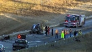 Highway 22, near Priddis, was closed for several hours on Monday for a crash that killed a 25-year-old Calgary man.