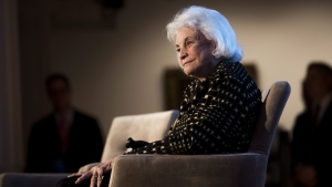 Justice Sandra Day O'Connor at the Seneca Women Global Leadership Forum at the National Museum of Women in the Arts in Washington, on April 15, 2015. (Kevin Wolf / Seneca Women via AP)