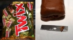 A man told Toronto police he found a razor blade inside a mini Twix bar. (Photo: Toronto police)