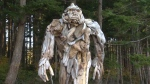 Alex Witcombe created this statue of a sasquatch in Rebecca Spit Provincial Park out of driftwood.