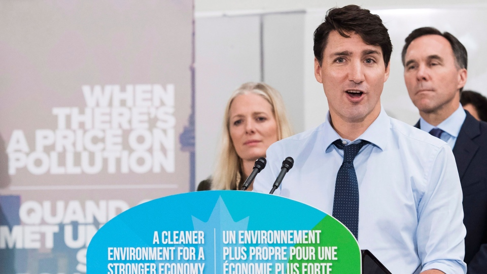 Prime Minister Justin Trudeau speaks to the media and students at Humber College regarding his government's new federally-imposed carbon tax in Toronto, Tuesday, Oct. 23, 2018. (Nathan Denette / THE CANADIAN PRESS)
