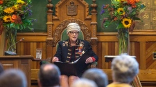 Lt.-Gov Jocelyne Roy Vienneau delivers her throne speech at the New Brunswick legislature in Fredericton on Tuesday, Oct. 23, 2018. (THE CANADIAN PRESS/James West)