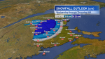 Predicted snowfall for areas of northern New Brunswick, which is expecting its first significant snowfall of the season.