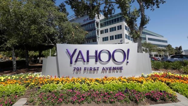 File photo: July 19, 2016, Yahoo sign at the company's headquarters in Sunnyvale, Calif. (AP Photo/Marcio Jose Sanchez, File)
