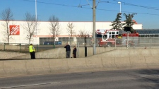 CPS, Calgary Transit, and CFD members at the entrance to the CTrain tunnel near the intersection of Memorial Dr and 36 St SE following a collision between a CTrain and pedestrian