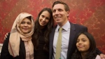 Brampton Mayor Patrick Brown poses for a photo for supporters alongside his wife Genevieve Gualtieri after winning the Brampton Mayoral Election during a campaign celebration in Brampton, Ont. on Monday, October 22, 2018. (THE CANADIAN PRESS/Chris Young)