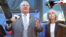 Ontario Progressive Conservative leader Doug Ford and Kanata-Carleton PC candidate Merrilee Fullerton speak to reporters a rally at Alice's Village Cafe as part of his Ontario provincial election campaign in Carp, Ontario on Wednesday, May 9, 2018. THE CANADIAN PRESS/ Patrick Doyle