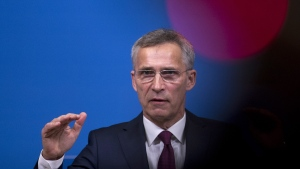 NATO Secretary General Jens Stoltenberg at NATO headquarters in Brussels, on Oct. 24, 2018. (Francisco Seco / AP)