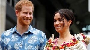 Prince Harry and Meghan, Duchess of Sussex, visit the University of the South Pacific in Suva, Fiji, Wednesday, Oct. 24, 2018. (Phil Noble/Pool Photo via AP)