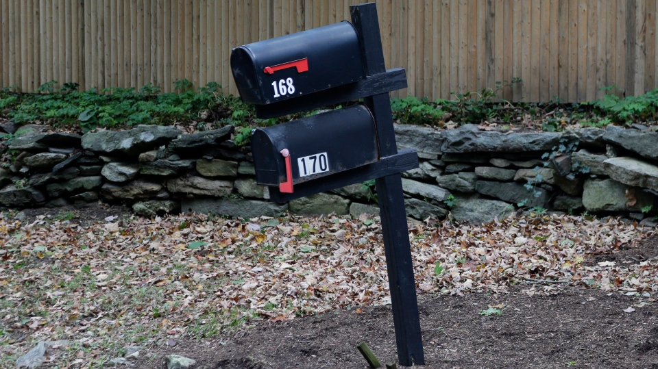Mailboxes in front of a compound owned by George Soros are seen in Katonah, N.Y., Tuesday, Oct. 23, 2018. (AP Photo/Seth Wenig)