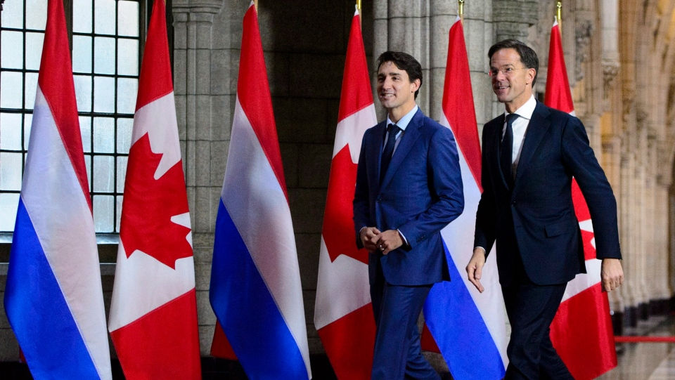 Prime Minister Justin Trudeau welcomes the Prime Minister of the Netherlands Mark Rutte to Parliament Hill in Ottawa on Thursday, Oct. 25, 2018. THE CANADIAN PRESS/Sean Kilpatrick