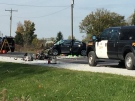One person was killed in a two-vehicle crash east of Sarnia, Ont. on Thursday, Oct. 25, 2018. (Bryan Bicknell / CTV London)