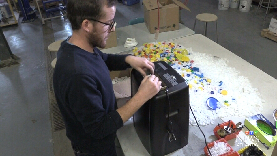 Aaron Outhwaite at Kindness 3D shreds plastic to make prosthetic limbs. (CTV)