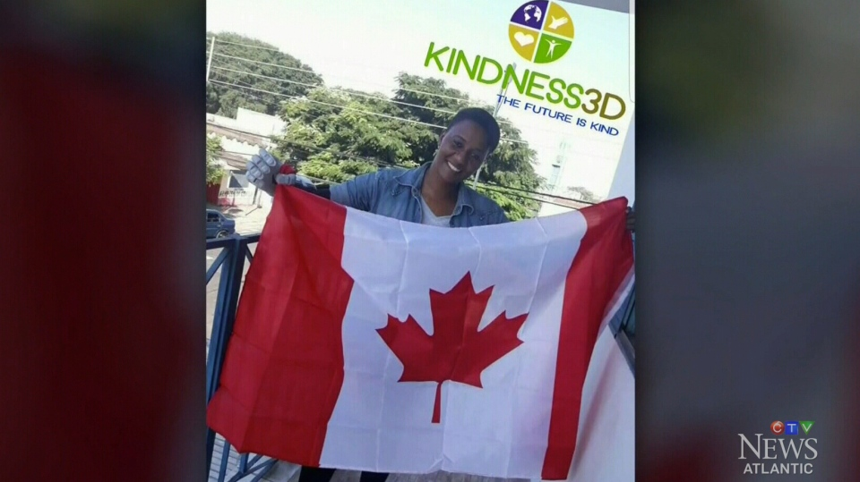 A happy recipient of a 3D printed prosthetic limb from Nova Scotia based Kindness 3D. (CTV)