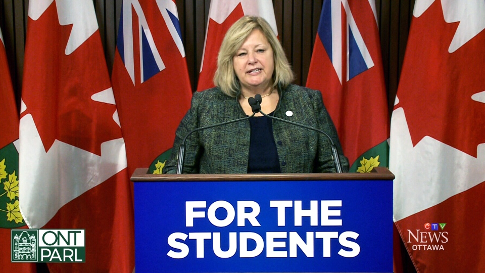 Ontario Education Minister Lisa Thompson announces new basic math requirements for teachers in the province, at the Ontario legislature in Toronto, Thursday, Oct. 25, 2018.