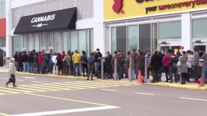 In the first 48 hours after legalization, Cannabis NB reported total sales of approximately $944,000, most of that from in-store purchases.