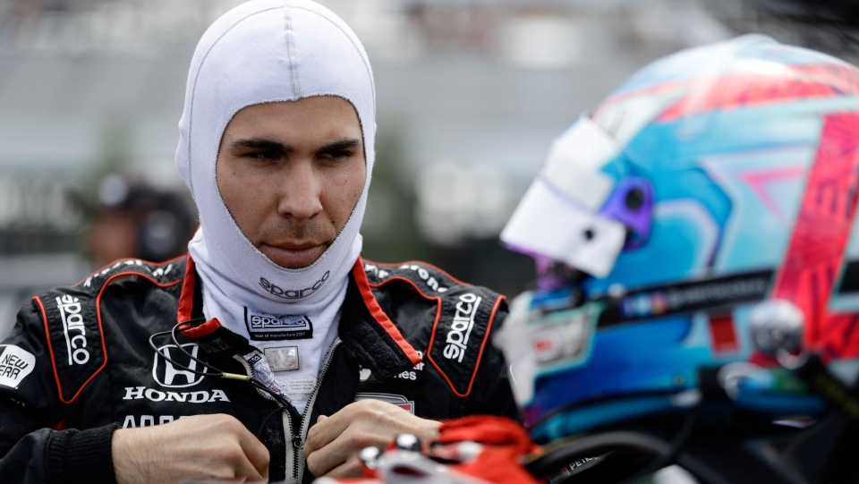 In this Aug. 18, 2018, file photo, Robert Wickens prepares to qualify for an IndyCar series auto race in Long Pond, Pa. (AP Photo/Matt Slocum, File)