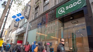 Customers line up at a cannabis store in Montreal on the second day of the legal recreational sales in Monteral, Que., on Thursday, October 18, 2018. (THE CANADIAN PRESS/Ryan Remiorz)
