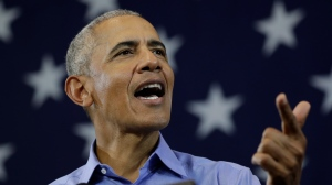 Former U.S. President Barack Obama speaks at a rally in support of Wisconsin Democratic candidates, Friday, Oct. 26, 2018, in Milwaukee. (AP Photo/Morry Gash)